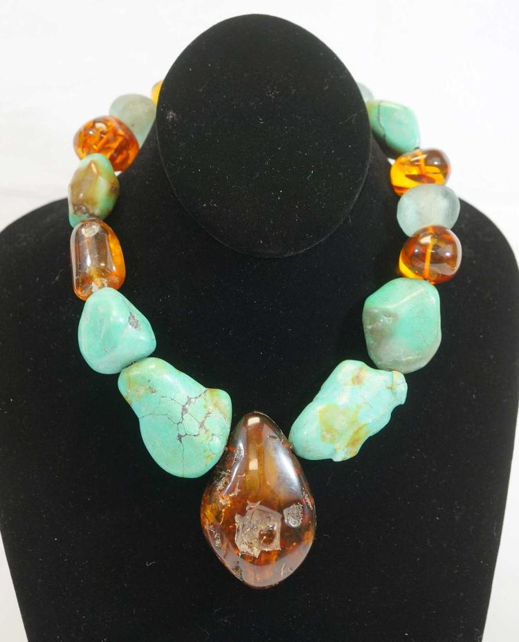 Impressive, Large Amber, Turquoise Necklace