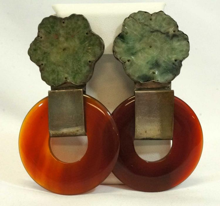 Rebecca Collins Signed Jade Earrings