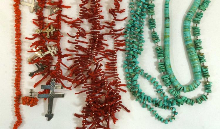 Group of Six Turquoise Coral Southwest Necklaces