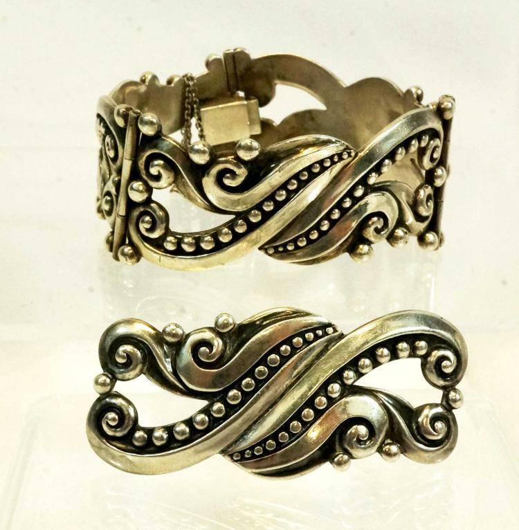 Margot De Taxco Sterling Bracelet & Pin 5268