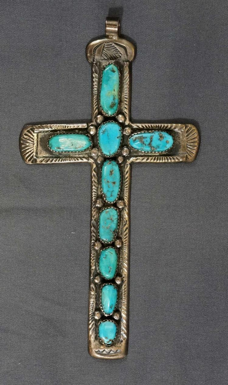 Horace Iule Large Vintage Zuni Turquoise Cross