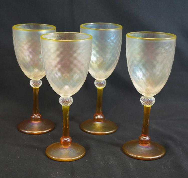 Set Four Studio Glass Iridescent Wine Glasses