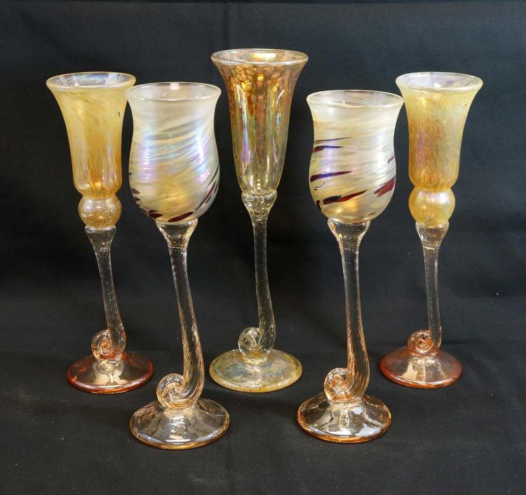 Five Large Signed Sudio Glass Wine Glasses