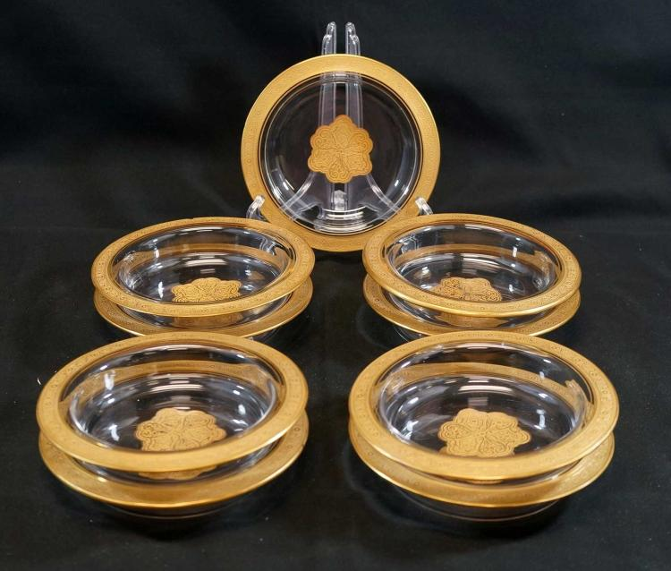 Moser Type Gilt Gold Bowls or Coasters (9)