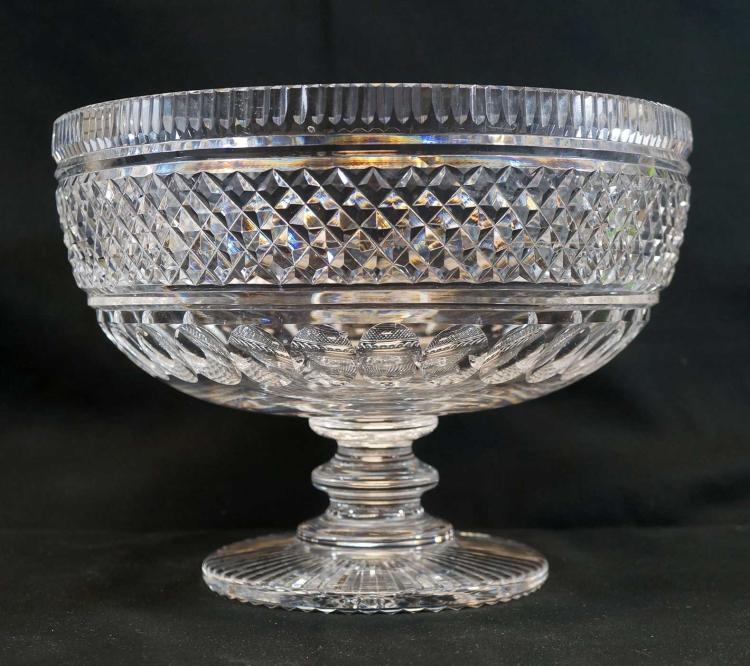 Impressive Crystal Pedestal Bowl, Unsigned