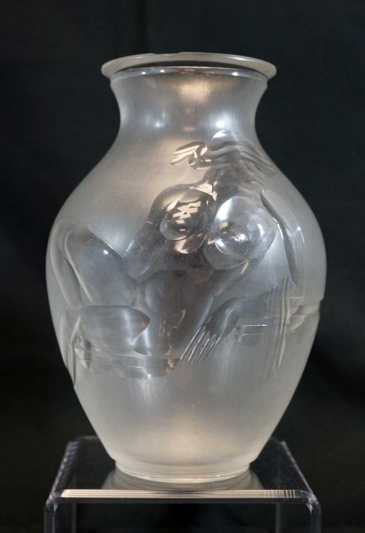 Art Deco Cut Nude Vase, Unsigned