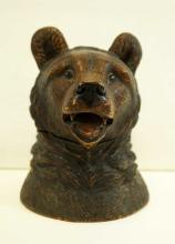 A Carved Black Bear Forest Inkwell