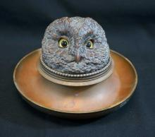 Bronze Inkwell Owl with Glass Eyes