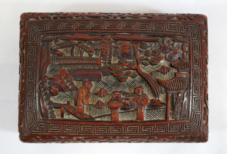 Old Chinese Cinnabar Covered Box