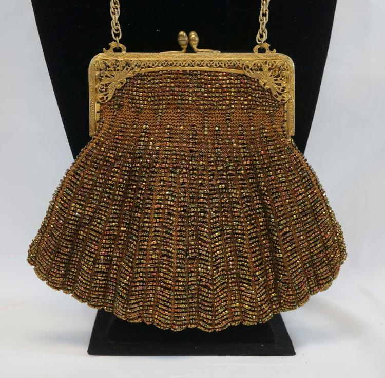 Two Gold Beaded Handbags