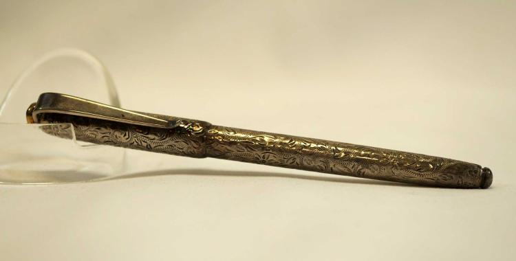 Signed Silver Decorated Ballpoint Pen