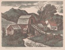 Isaac J. Sanger Color Woodcut [WPA, Vermont]