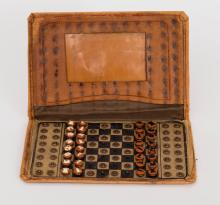 Rare Snap Button Traveling Chess Set, 19th Century (Likely Jaques, London)