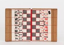 Folding Pocket Combined Chess & Draughts Set , 1880's, De La Rue & Co with Corbould's Pieces