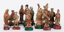 Japanese Polychromed Wood Chess Set, 19th Century (12 Figures)