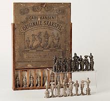 Danish Cast Bronze Figural Chess Set by Carl Hansen, Circa 1875
