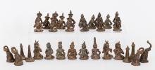 Southeast Asian Metal Chess Set, Late 19th Century