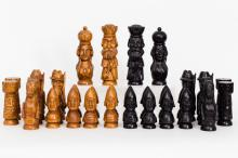 Czechoslovakian Carved Wood Chess Set, Late 19th Century