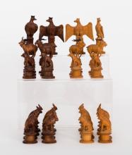 A Swiss Pearwood Animal and Bird Chess Set, 19th Century