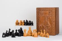 Nigerian Softwood Chess Set With Box by J. P. Akeredolu, African, Mid-20th Century
