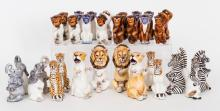 A Bassano Ceramic 'Animal' Chess Set, Italian, 20th Century