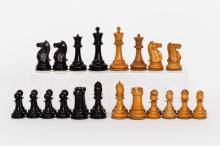 19th Century Victorian Boxwood and Ebony Weighted Staunton Chess Set by 'Jaques, London,' Circa 1870-1880