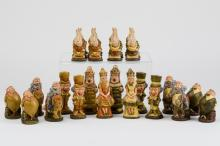 Alice in Wonderland Chess Set, Dyed Plastic, USA or UK, Second Half of the 20th Century