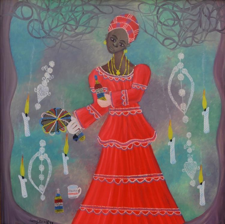 Camy Rocher Haitian Ceremony for Erzulie, dated 1979, Self Taught, Folk, Outsider Art Painting
