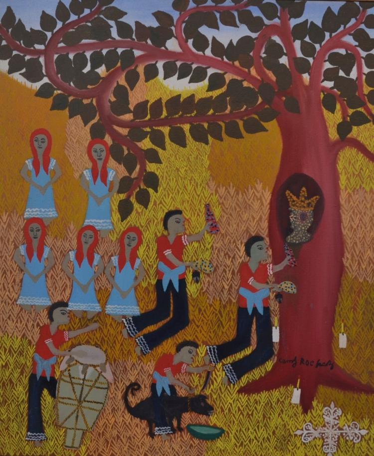 Camy Rocher Haitian Tree Ceremony, Circa 1970's, Self Taught, Folk, Outsider Art Painting