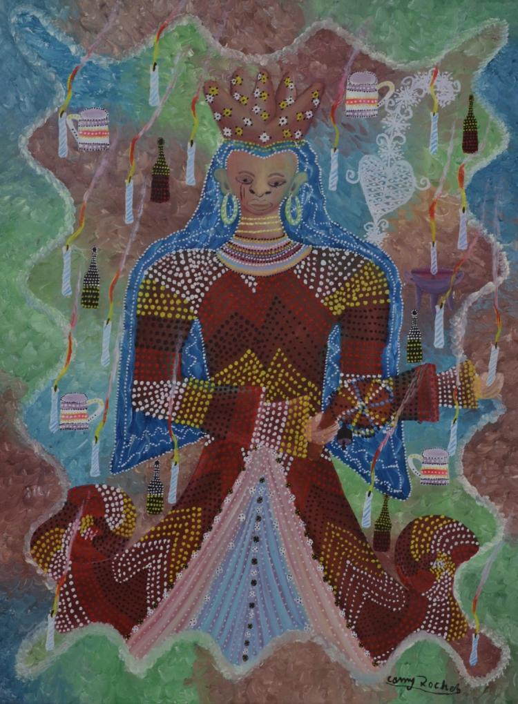 Camy Rocher Haitian Crowned Erzulie, circa 1970's Self Taught, Folk, Outsider Art Painting