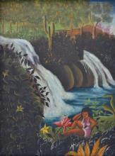 Roland Blain Haitian Bather by Waterfalls, Self Taught, Folk, Outsider Art Painting, Haiti