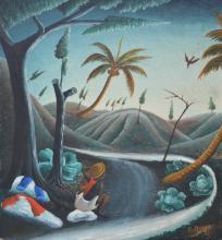 Bourmond Byron Haitian Mystical River, dated 1957 Self Taught, Folk, Outsider Art Painting