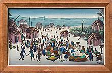 Bourmond Byron (Haitian/Jacmel, 1920-2004), Jacmel Market Scene