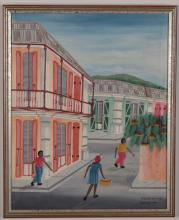 Artist Unknown (Haitian/20th C.) Cap-Haitien Street Corner