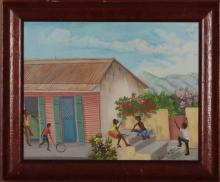 Roland Etienne (Haitian/Cap-Haitien, 20th C.), Father Watching Over Family