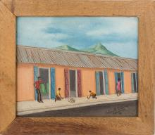 Roland Etienne (Haitian/Cap-Haitien, 20th c.)   Playing Circle Game on Cap-Haitien Street, dated 1980