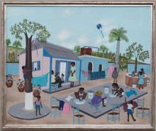 Eugene Jean (Haitian/Cap-Haitien, b.1950) Life by the Well, Oil on masonite, c.1990's