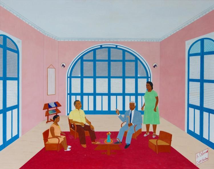 Antoine Obin (Haitian/Cap-Haitien, 1929-1992))   Antoine (and guest) Visit with Philome Obin, Circa 1982