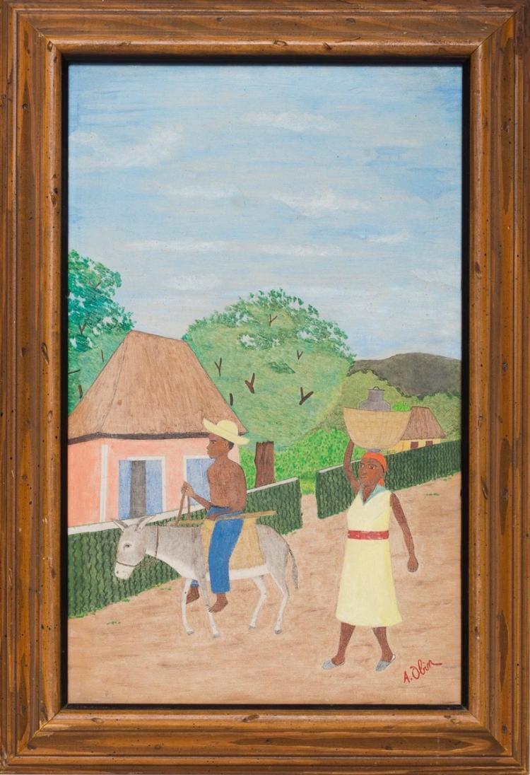 Antoine Obin (Haitian/Cap-Haitien, 1929-1992)) Walking to Town, c. 1960's
