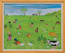 Telemaque Obin (Haitian/Cap-Haitien, b.1913)   Farming in Rice Paddy Fields, Circa 1970's