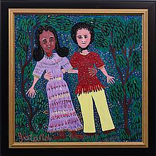 Gerard (Fortune) (Haitian/Petionville, b. 1933), Hugging Couple in the Woods, c. 1990s