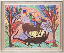 Gerard (Fortune) (Haitian/Petionville, b. 1933)   St. Jacques Holding Haitian Flag Slays the Dragon, c.1990's
