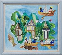 Gérard Paul (Haitian/Port-au-Prince, b.1943), Rowing with Large Fish and Gingerbread Houses, c. 1980's