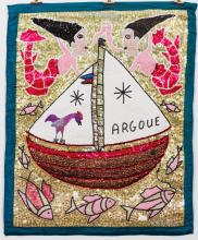 Drapeau/Vodou Sequin Flag (Haitian/20th C.)   Argoue (Marassa Mermaids with Fish), c. 1990's