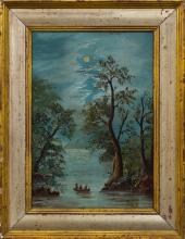 Naive American 19th Century Folk Art Painting, Three Figures Rowing on Moonlit Lake