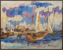 Micheline Brierre (Haitian/20th C.) Sailboats, dated 1963