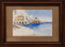 J. Goss (illegibly signed), Seaside European Cliff Town Watercolor, dated 1939