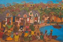 Micius Stephane (Haitian) Village Market, Self-taught/Outsider Folk Art